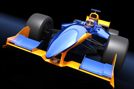 1: Generic blue race car on the black background Stock Photo