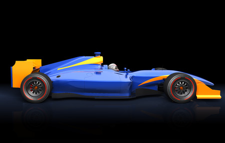 racecar: Generic blue race car on the black background Stock Photo