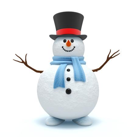 흰색 배경에 고립 귀여운 눈사람