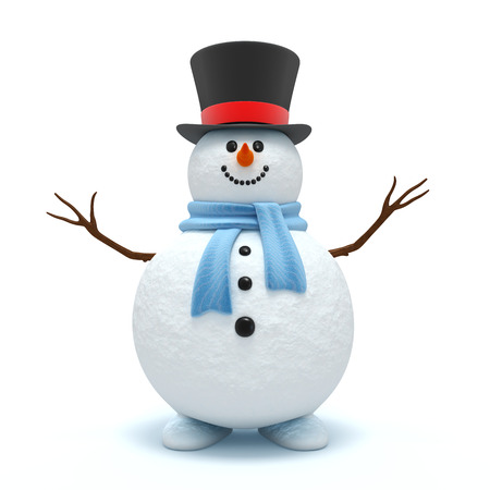 snowman: Cute snowman isolated on the white background Stock Photo