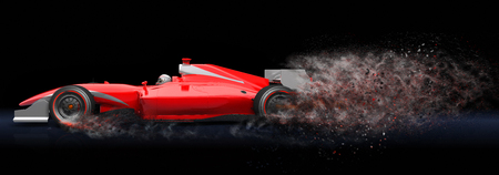 Generic red sport car with trail of dust.  This is 3D model and this sport car doesnt exist in real life Stock Photo