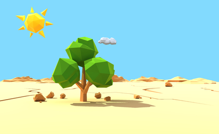 lonely tree: Lonely tree in desert. Low polygonal 3d render