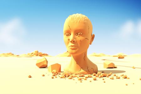 enfermedades mentales: Mujer cabeza de llorar con l�grimas de piedra