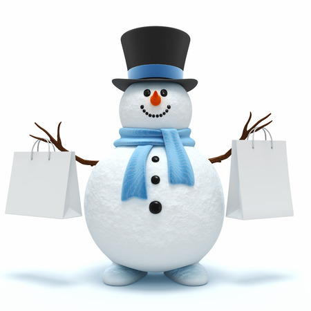 holidays and celebrations: Cute snowman with shopping bags