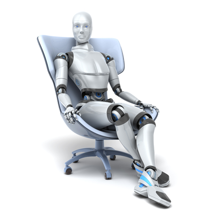 Android sits in a chair isolated on white. Clipping path included