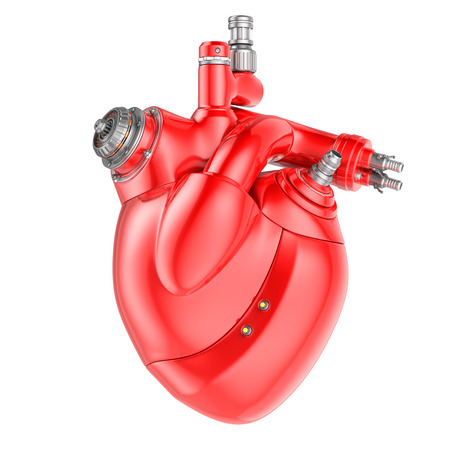 human heart: Corazón mecánico sobre un fondo blanco. Foto de archivo