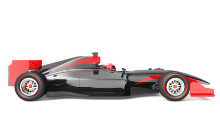 car isolated: Generic black and red race car.  This is 3D model and this sport car doesnt exist in real life