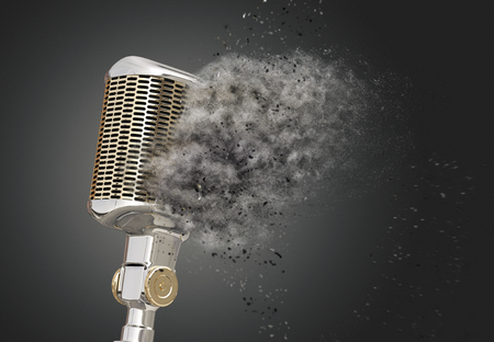 shattered: Retro style microphone shattered into dust Stock Photo