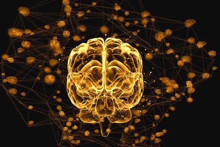biologia: Ilustración de los procesos de pensamiento en el cerebro