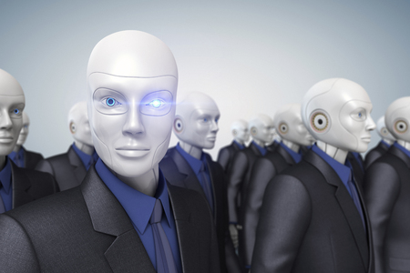 white collar worker: Robots dressed in a business suit