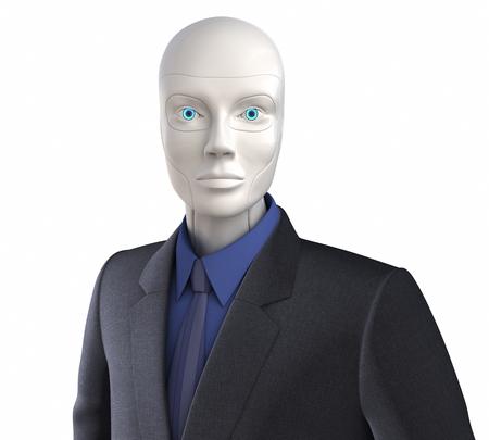 traje: Robot vestido con un traje de negocios