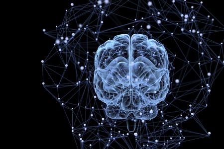 두뇌에있는 생각 과정의 삽화