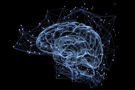 Illustration der Denkprozesse im Gehirn Standard-Bild