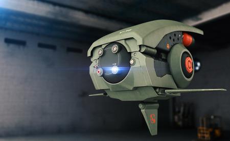 scifi: 3D  render of a sci-fi drone Stock Photo