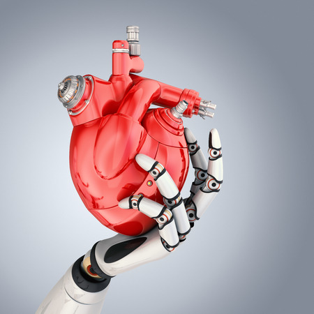 Mechanical heart in robots hand. Stockfoto