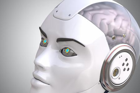 inteligencia: La cabeza de robot de cerca Foto de archivo