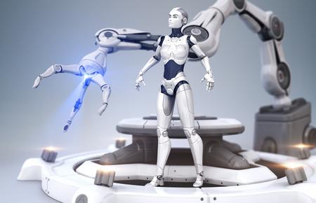 Sci-Fi robot and robotic arm 版權商用圖片 - 58370281