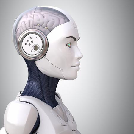 in profile: Robots head in profile Stock Photo