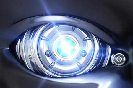 サイバーの目の光を輝かせてクローズ アップ