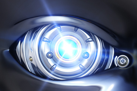 Cyber eye close up with shining light