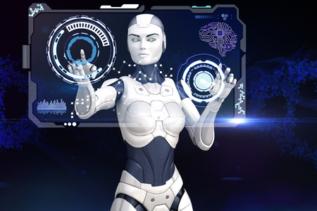 cyber girl: Cyber girl is working with screen of data