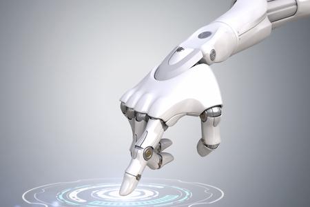 ロボットの手はボタンを押しています。クリッピング パスを含める
