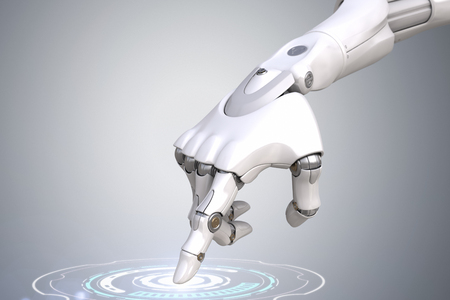 Robot's hand is pushing the button. Clipping path included Archivio Fotografico