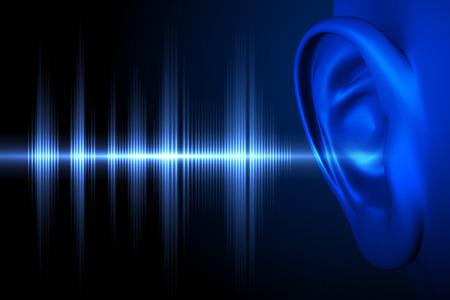 escuchar: Imagen conceptual acerca de la audición humana Foto de archivo