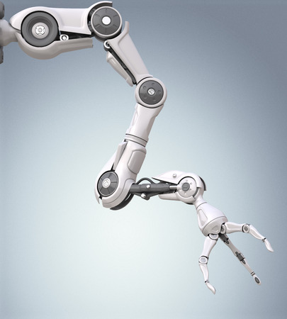 Futuristic robotic arm with mechanical seizure Stock Photo