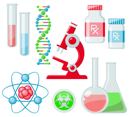 hazardous waste: Trendy science icons on white. Vector elements Illustration