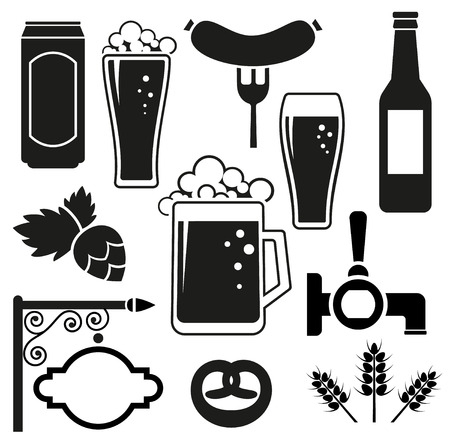 Beer vector icons set (hops leaf, glass, can, mug, bottle)
