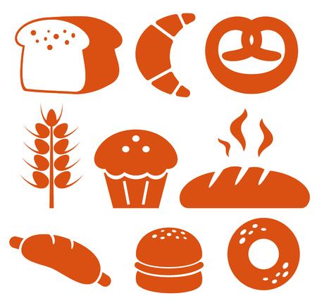 pretzel: Bakery icons set. Bread, donut, cake, cupcake Illustration