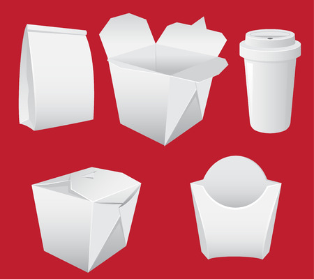 white boxes: White Paper Boxes and cup. Fast Food