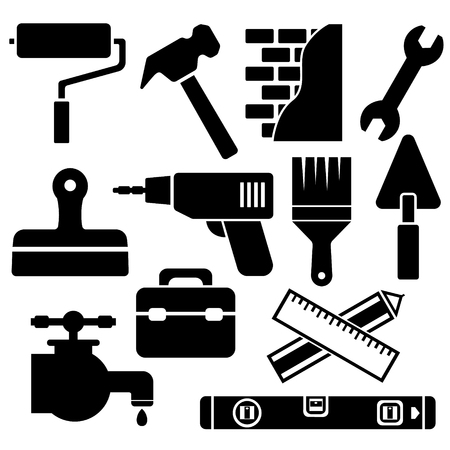 renovating: Building, construction and home repair tools. Web icon set Illustration