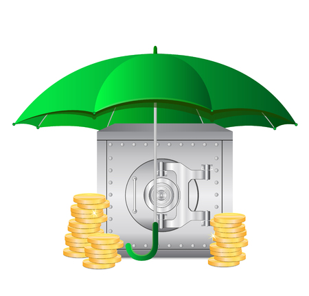 Umbrella and Bank Safe and Coins