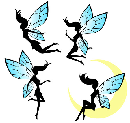 Set of vector silhouettes of a fairy