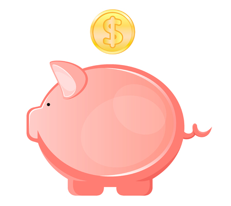 Piggy bank, with coin falling into slot Illustration