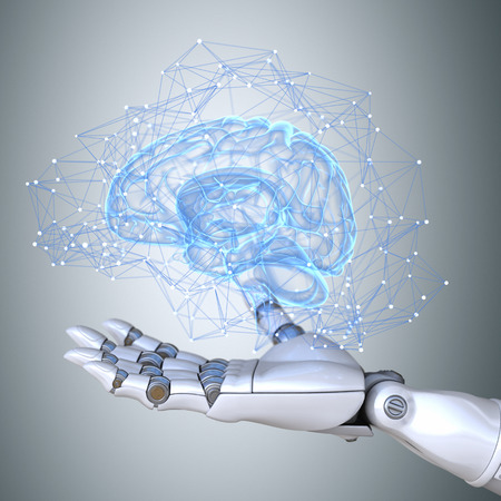 Robot hand holding virtual brain scheme Stockfoto