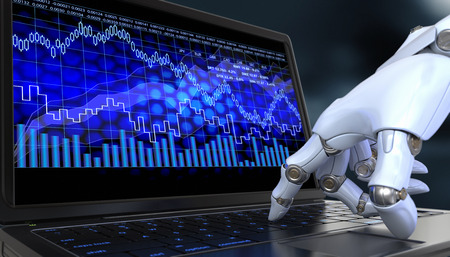 Exchange trade robot. Automated trading system is a computer trading program. Archivio Fotografico