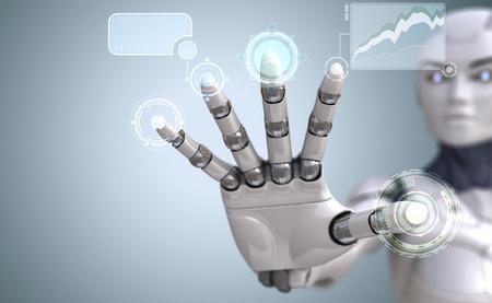 Robot hand touches Sci-Fi interface Stock Photo