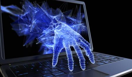 usando computadora: Recogida de datos personales a través de un concepto de ordenador portátil para el pirata informático, seguridad de red y seguridad de la banca electrónica Foto de archivo