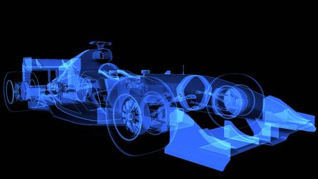 insight: 3d Rendering of xray sport car. 3D illustration