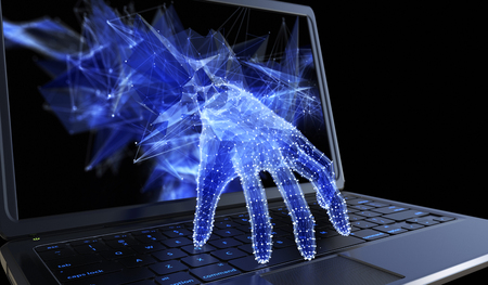 Stealing personal data through a laptop concept for computer hacker, network security and electronic banking security