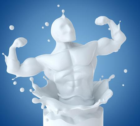 Splash melk in de vorm van atleet lichaam. 3D illustratie