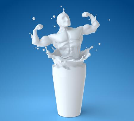 Splash of milk in form of athlete body. 3D illustration