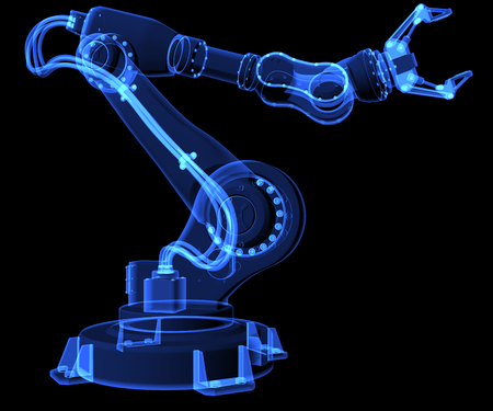 Industrial robot. X-ray style. 3D illustration