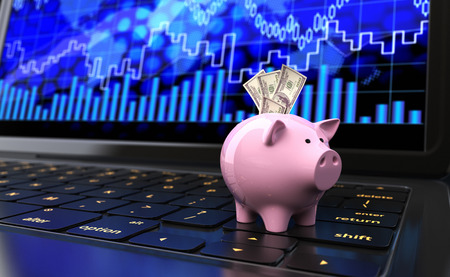stock exchange brokers: Piggy bank with dollar banknotes on a laptops keyboard. 3D illustration Stock Photo