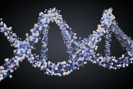 genomes: Spiral strand of DNA on the dark background. 3D illustration Stock Photo