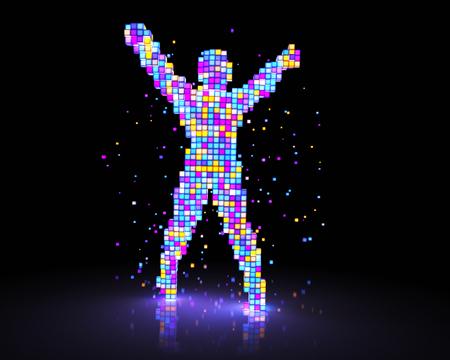 Man figure consisting of glowing pixels. 3D illustration Stock Photo