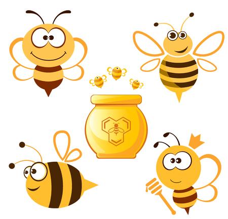 재미 있은 꿀벌 및 꿀 설정합니다. 벡터 일러스트 레이 션